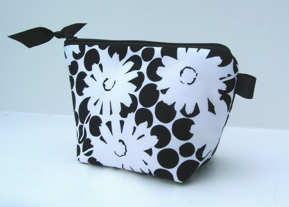 Super Sale---Flat Bottom Padded and zippered Cosmetic Bag Black and White Polka Dot and Daisy Floral