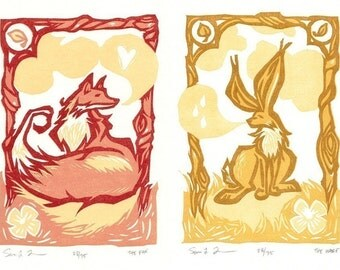 The Fox and The Hare - Letterpress Reduction Art Print Set
