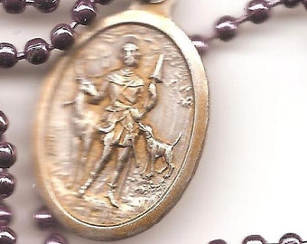 Metal Workers, Bloodhounds, St. Hubert Patron Saint Necklace on Purple Ball Chain