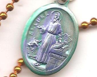 Artists, St Luke Patron Saint Medal on Orange Ball Chain