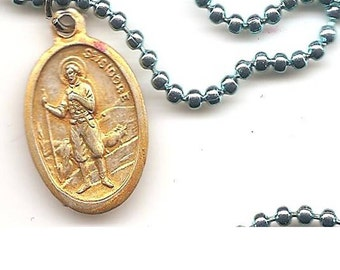 Computer Geeks, St Isidore Patron Saint Medal on Three Strands of Dark Brown Waxed Cotton
