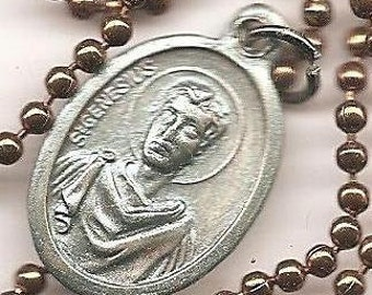 Actors and Attorneys  St. Genesius Patron Saint Medal on Antique Copper Colored Ball Chain