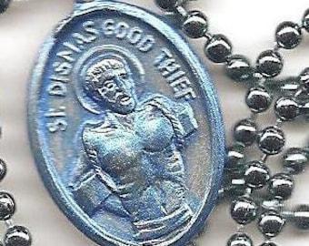 Bad Boys, St. Dismas the Good Thief, Patron Saint medal on Blue Ball Chain