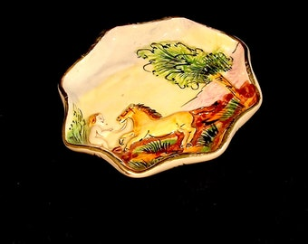 Vintage Capodimonte Porcelain Horse and Angel Dish
