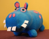 Aqua Blue and Bright Pink Spotted Plush Hippo