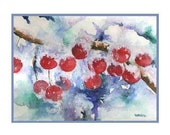 Watercolor Winter Crabapples Greeting Note Cards Notecards, Christmas Prints, Christmas Stationery, Gift Box