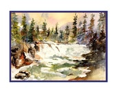 Watercolor Glacier National Park Avalanche Trail Note Cards Notecards, Boxed Set, 6 or 8 Cards, Stocking Stuffers, Stocking Stuffer