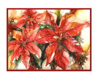 Christmas Watercolor Poinsettia Notecards Note Cards, Christmas Prints, Red Poinsettias, Gift Box,Christmas Stationery