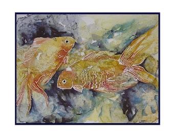 Two Watercolor Goldfish Notecards Note cards, Goldfish Prints, Goldfish Art, Gift Box, Card Set, Stocking Stuffers