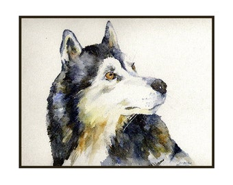 Watercolor Siberian Husky Notecards Note Cards, Husky Print, Siberian Husky Art, Pet Cards, Dog Stationery, Gift Box, Stocking Stuffers