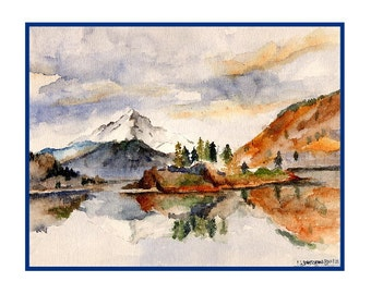 Watercolor Mt. Hood Notecards Note Cards, Mt Hood Print, Mount Hood Art, Mountains, Gift Box, 6 or 8 Cards, Hiker Gift, Stocking Stuffers