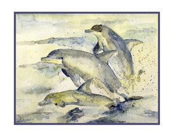 Watercolor Dolphins Note Cards Dolphin Prints Gift Box Greeting Cards Porpoises Stocking Stuffers