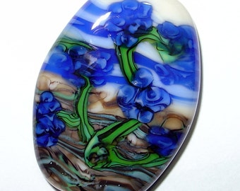 Reduced   Vine with Blue Flowers Lampwork Focla Bead