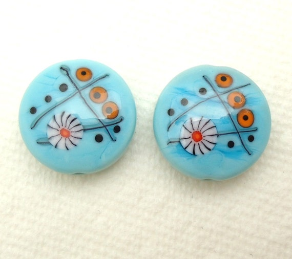 One of A Kind Turquoise Murrini Spree Lentils Artisan Handmade Lampwork Glass Beads SRA