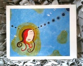 Meditation, a girl really connecting with the universe print by Lea Keohane