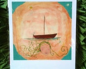 "A water goddess gives safe travels ""Alone, but Not Lost, at Sea"", 8.5 x 11 print by Lea Keohane"