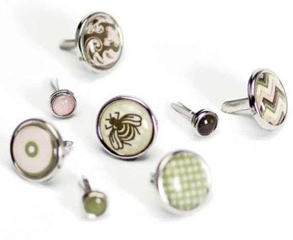 ON SALE - Glazed Art Brads - Fasteners - Basic Grey Porcelain bee bird