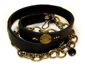 Special Order for Carolyn- Stitched Leather Wrap Bracelet with Onyx
