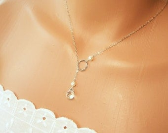 Pearl and Crystal Lariat