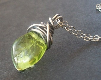 Czech Glass Leaf Necklace