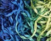 Hand Dyed Ribbon  MERMAID  Curly Black Edge 4 yards