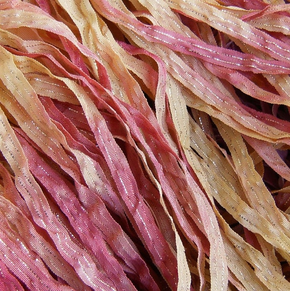 Hand Dyed Ribbon Nectarine Dazzle 1/4 inch 5 yards