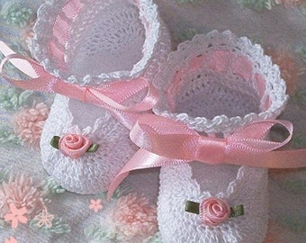 Boutique Crochet Mary Janes Baby or Reborn Doll Booties