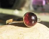 Red Garnet Cabochon Ring  -Black Cherry Jello
