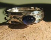 Blue sapphire stacking ring set cabochon sterling silver -Atoll