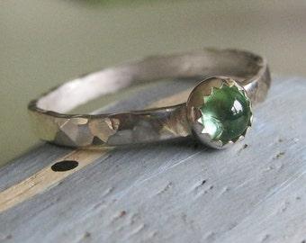 Green tourmaline cabochon stacking ring -Little Bit