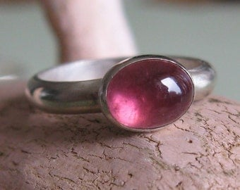 Pink tourmaline ring oval cabochon sterling silver ring -Umami