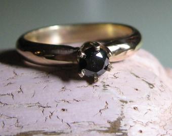 Gold ring Black Diamond engagement Ring - Indie Bride