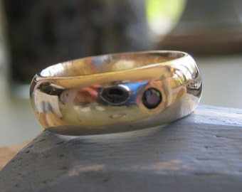 14k wide gold wedding band with diamond -Deposit - Wax cast ring