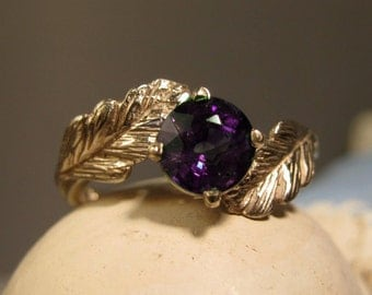 Leaf Ring 14k gold ring- Wiccan forest