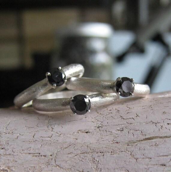 An Alternative Engagement -Handmade Black Diamond Ring