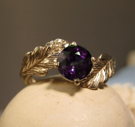 leaf ring 14k gold ring wiccan forest - Wiccan Wedding Rings
