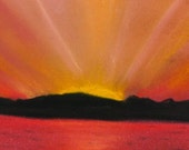 Red sunset, pastel painting