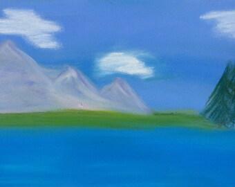 Still lake, pastel painting