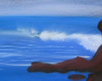 Ocean spray, pastel painting