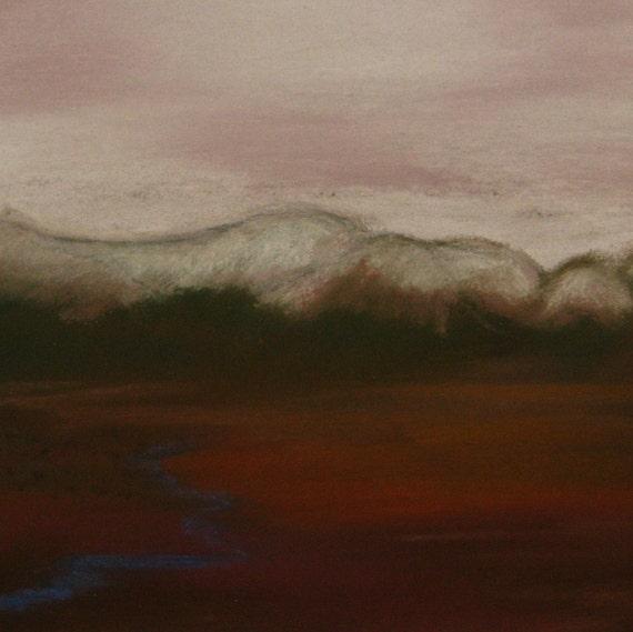 Grey mountains, pastel painting