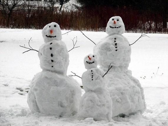 Snowman family, photograph