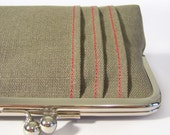 The Pintuck Clutch - handmade clutch with textured detail - pale olive and red - size medium