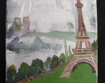 8x10 Eiffel Tower Mixed Media Painting