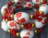 Spring Blossoms Wrap Beaded Bracelet - Coral, Freshwater Pearl, and Porcelain