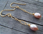 A Beautiful Life - Freshwater Pearl and Vermeil Dangle Earrings