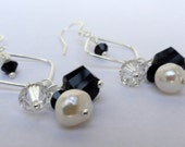 Black and White Sterling Silver Crystal and Pearl Earrings