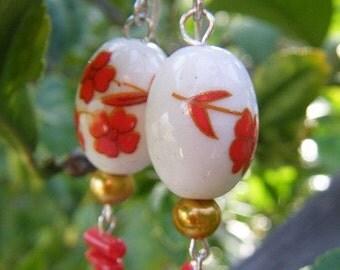 Pretty Flower Design Porcelain Beaded Earrings