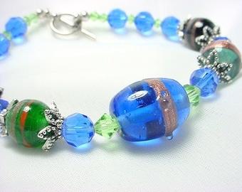 Lampwork Bead, Glass and Crystal Bracelet