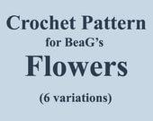 Crochet Pattern for Flowers, PDF (W-TUT-004), flower crochet pattern, easy flower pattern, easy crochet pattern