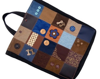 Bag - Eco Friendly, Sturdy (W-BAG-026), patchwork shopping bag, tote bag, library bag, women accessory, blue and brown bag, recycled fabrics